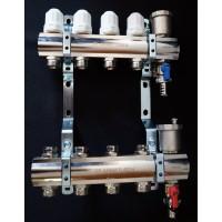 """Коллекторный блок в сборе  с регулировочными клапанами Ø 1""""- 3/4"""" ш  4 выхода PF MB 804.4"""