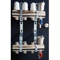 """Коллекторный блок в сборе с регулировочными клапанами Ø1""""- 3/4"""" ш  3 выхода  PF MB 804.3"""