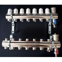 """Коллекторный блок в сборе  с регулировачными клапанами   Ø1""""-3/4""""ш 6 выходов  PF MB 804.6"""