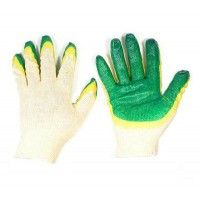 Перчатки х/б   двойной облив зелёные
